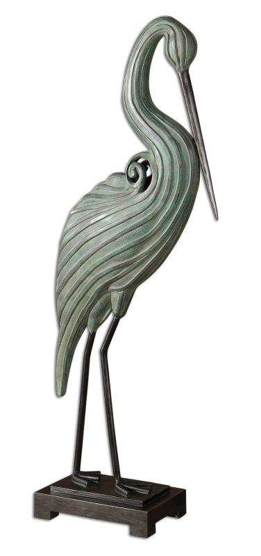 Uttermost 19566 Keanu Heron Sculpture Crackled Blue Home Decor Statues