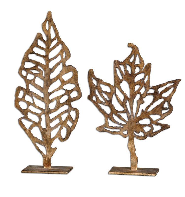 Uttermost 19583 Hazuki Sculpture Set of 2 Gold Leaf Home Decor Statues