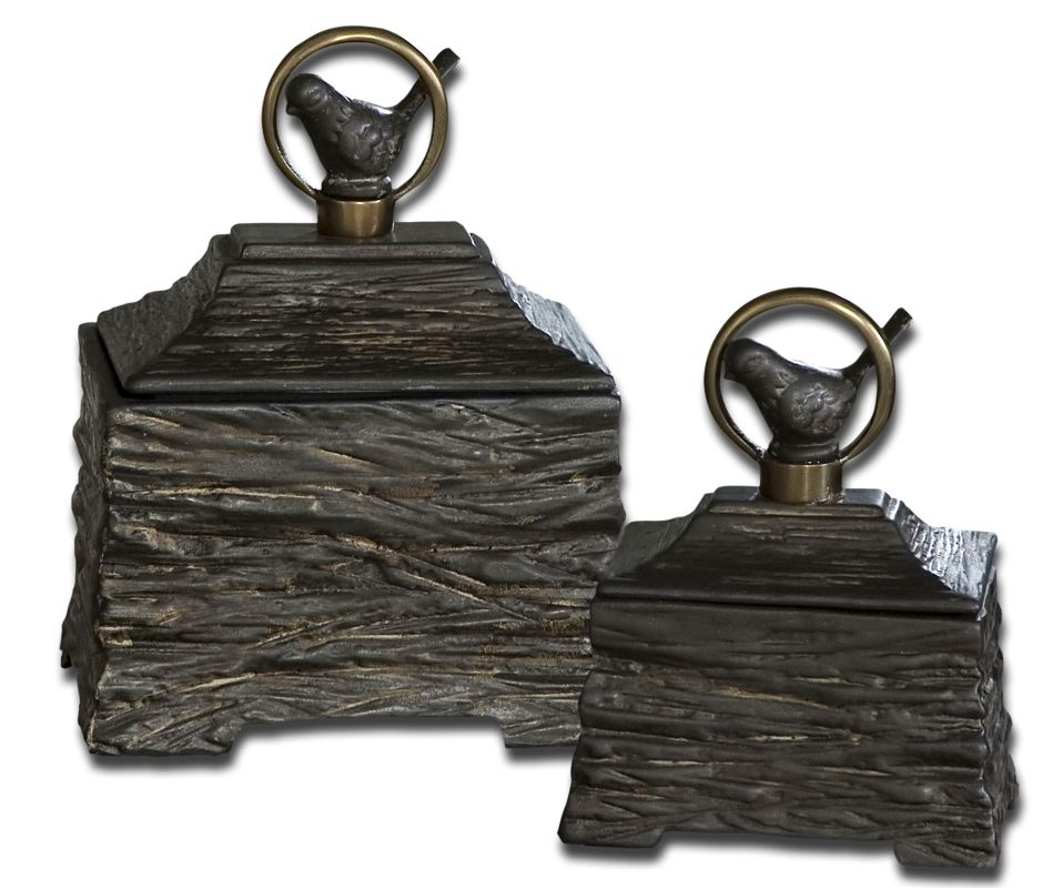 Uttermost 19601 Birdie Boxes Set of 2 Metallic Gray Home Decor Boxes
