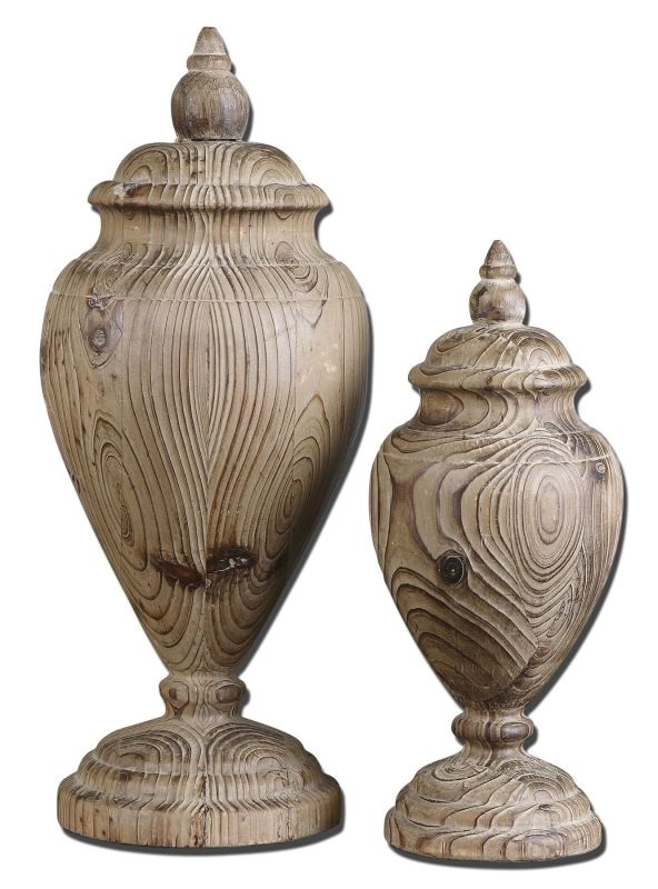 Uttermost 19613 Brisco Finials Set of 2 Natural Wood Home Decor