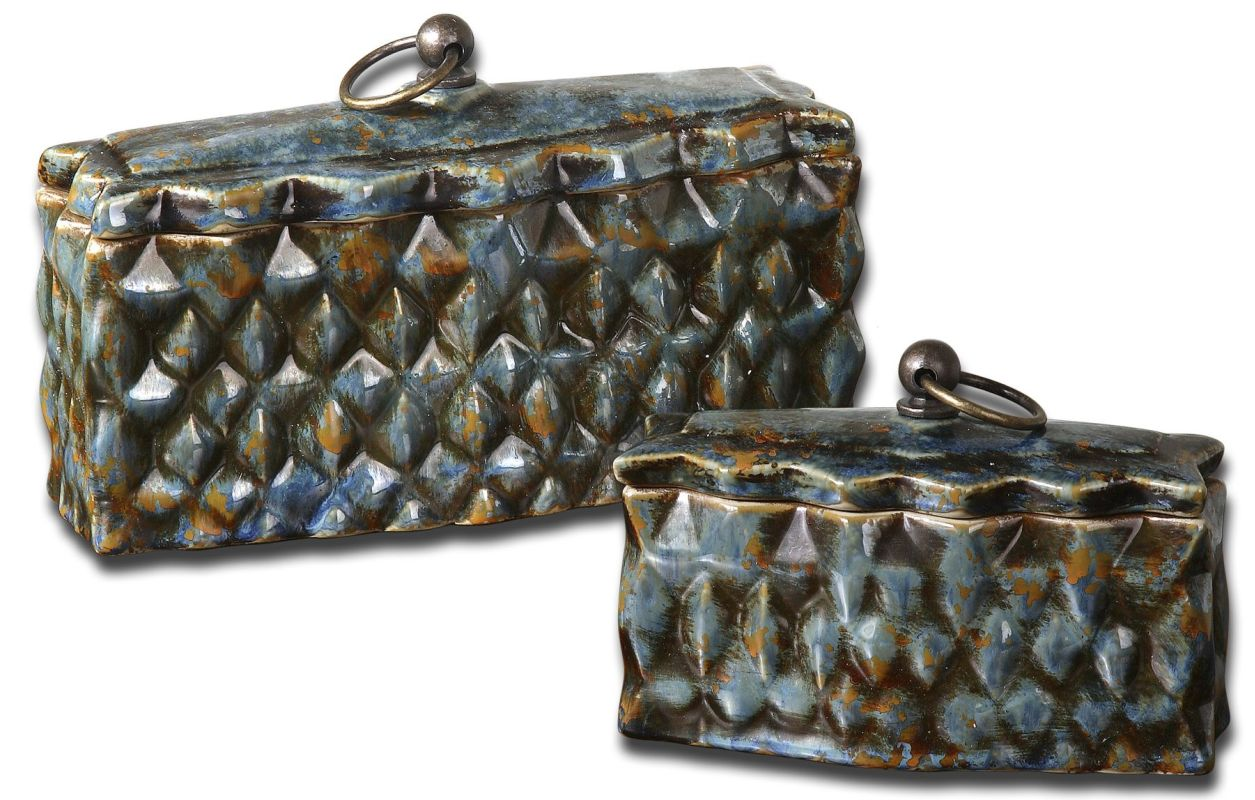 Uttermost 19618 Neelab Boxes Set of 2 Crackled Blue Home Decor Boxes