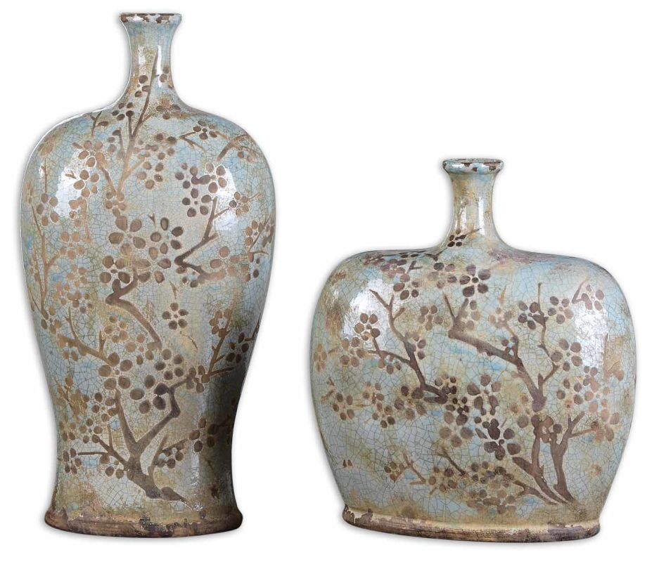 Uttermost 19658 Citrita Set of 2 Vases Crackled Blue Home Decor Vases