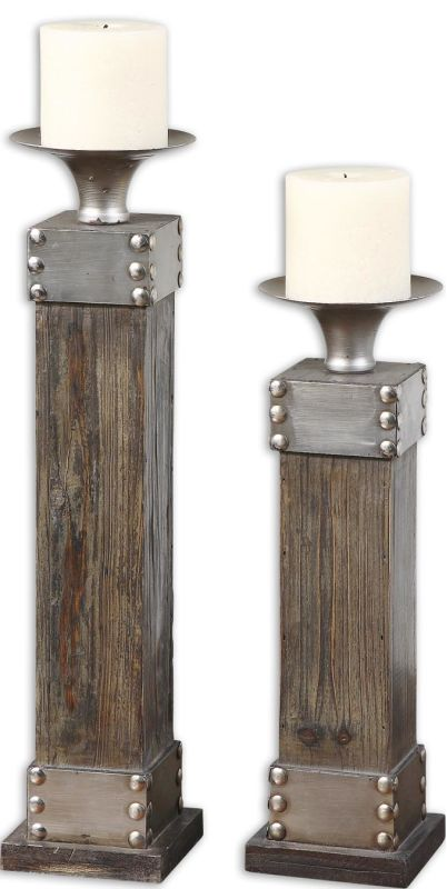 Uttermost 19668 Lican Set of 2 Candle Holders Natural Wood Home Decor