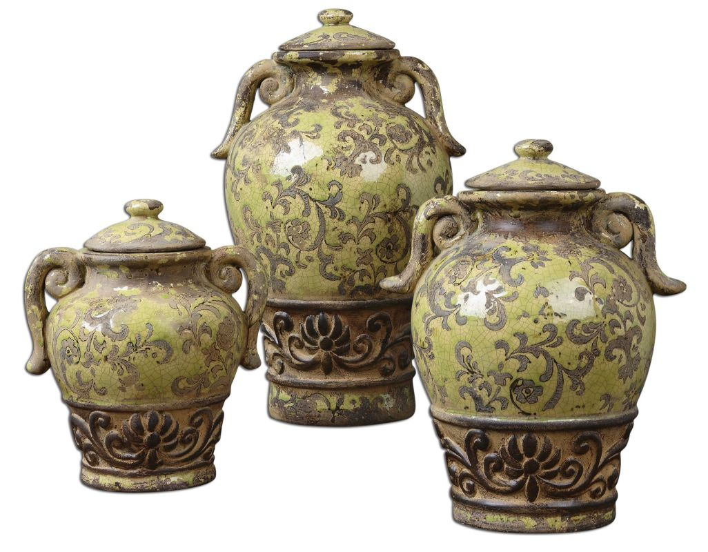 Uttermost 19716 Gian Containers Distressed Crackled Green Home Decor