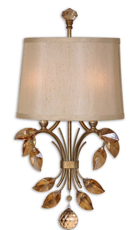 Uttermost 22487 Alenya 2 Lt Wall Sconce Burnished Gold Indoor Lighting