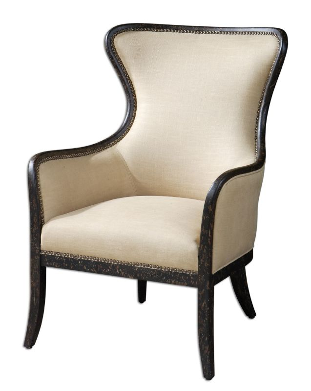 Uttermost 23051 Zander Wing Chair White Mahogany Furniture Arm Chairs