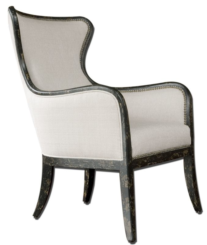 Uttermost 23073 Sandy Wing Chair Sandy White Furniture Arm Chairs Sale $877.80 ITEM: bci1946816 ID#:23073 UPC: 792977230732 :