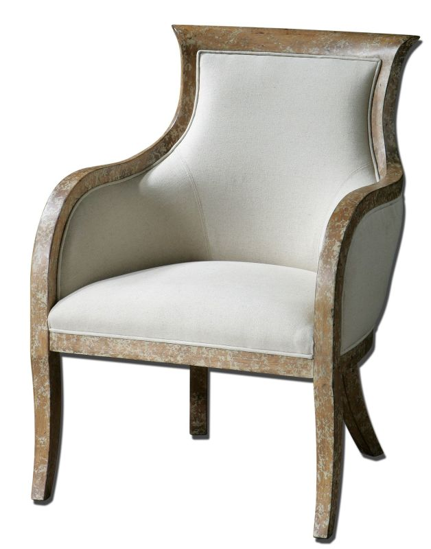 Uttermost 23080 Quintus Armchair White Mahogany Furniture Arm Chairs