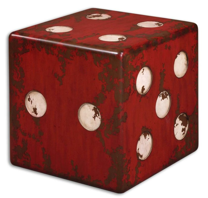 Uttermost 24168 Dice Accent Table Burnt Red Furniture End Tables