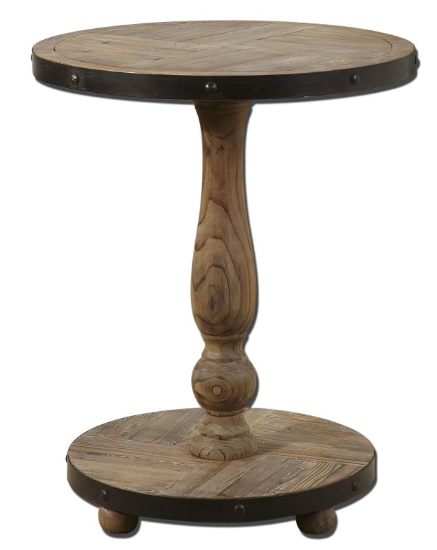 Uttermost 24268 Kumberlin Round Table Natural Wood Furniture End