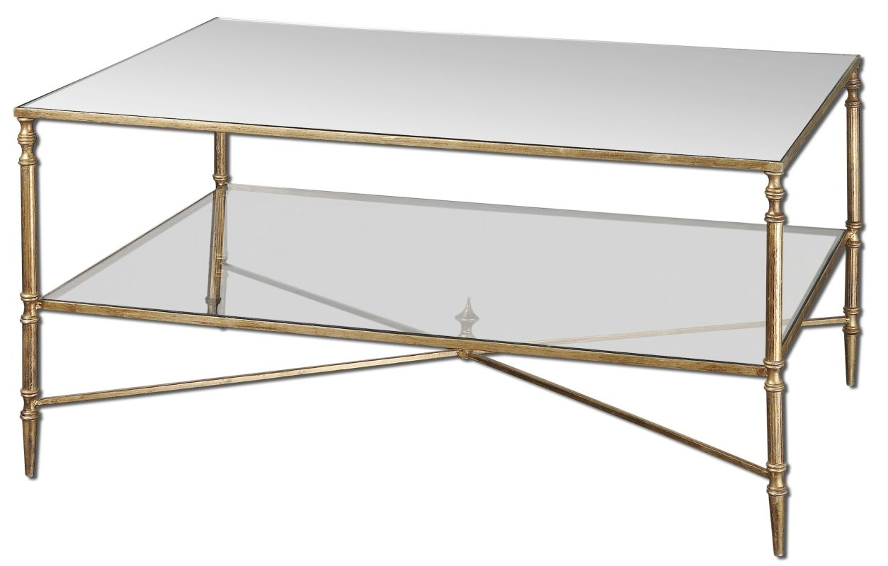Uttermost 24276 Henzler Coffee Table Antiqued Gold Leaf Furniture
