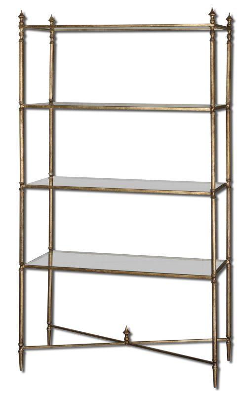 Uttermost 24277 Henzler Etagere Shelves Antiqued Gold Leaf Furniture