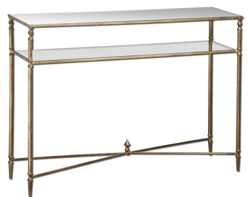 Uttermost 24278 Henzler Console Table Antiqued Gold Leaf Furniture