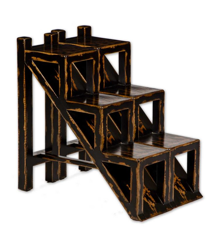 Uttermost 25523 Asher Black Accent Table Distressed Black Furniture
