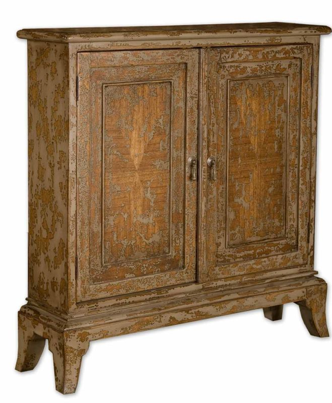 Uttermost 25526 Maguire Console Cabinet Distressed Oatmeal Furniture