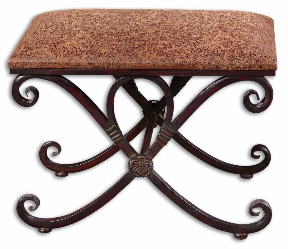 Uttermost 26122 Manoj Small Bench Dark Coffee Brown Furniture Benches