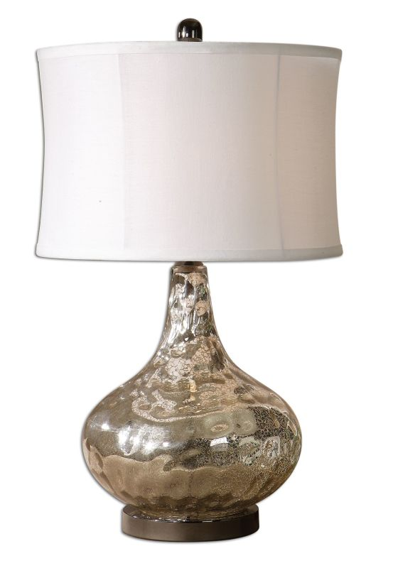 Uttermost 26453-1 Vizzini Lamp Crackled Polished Chrome Lamps
