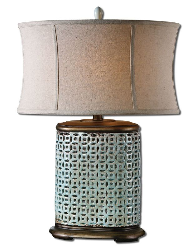 Uttermost 27475-1 Rosignano Table Lamp Crackled Aged Blue Lamps