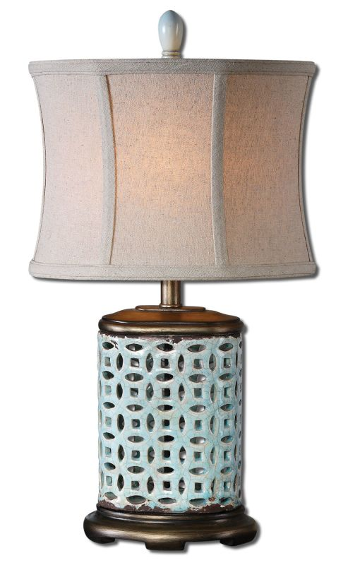 Uttermost 29925-1 Rosignano Table Lamp Crackled aged Blue Lamps
