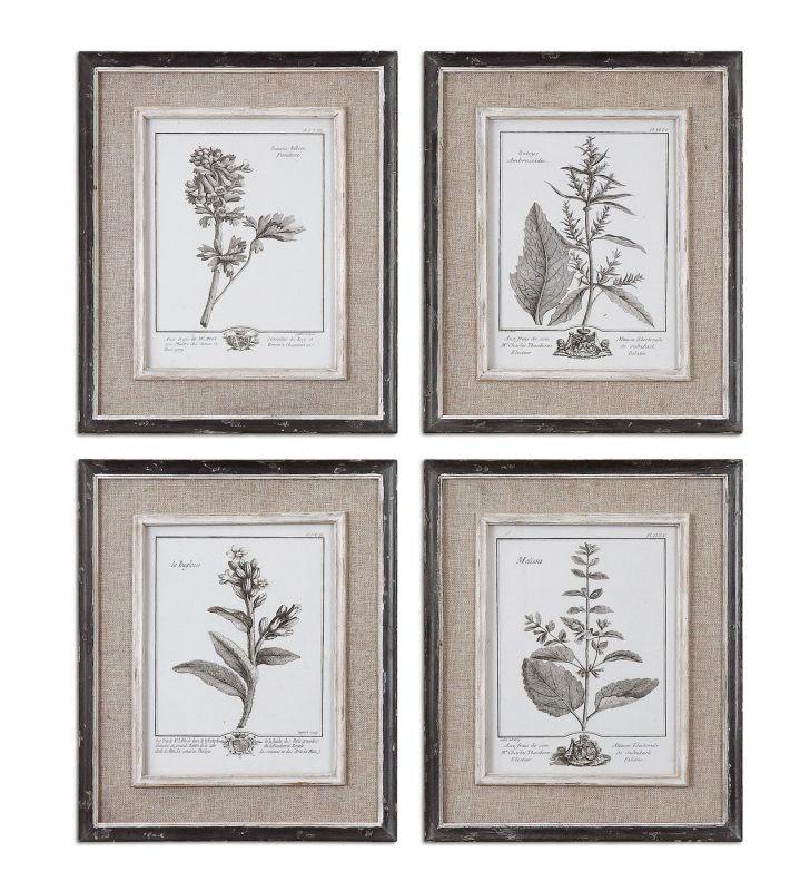 Uttermost 32510 Casual Grey Study I Ii Iii Iv Set of 4 Wall Art