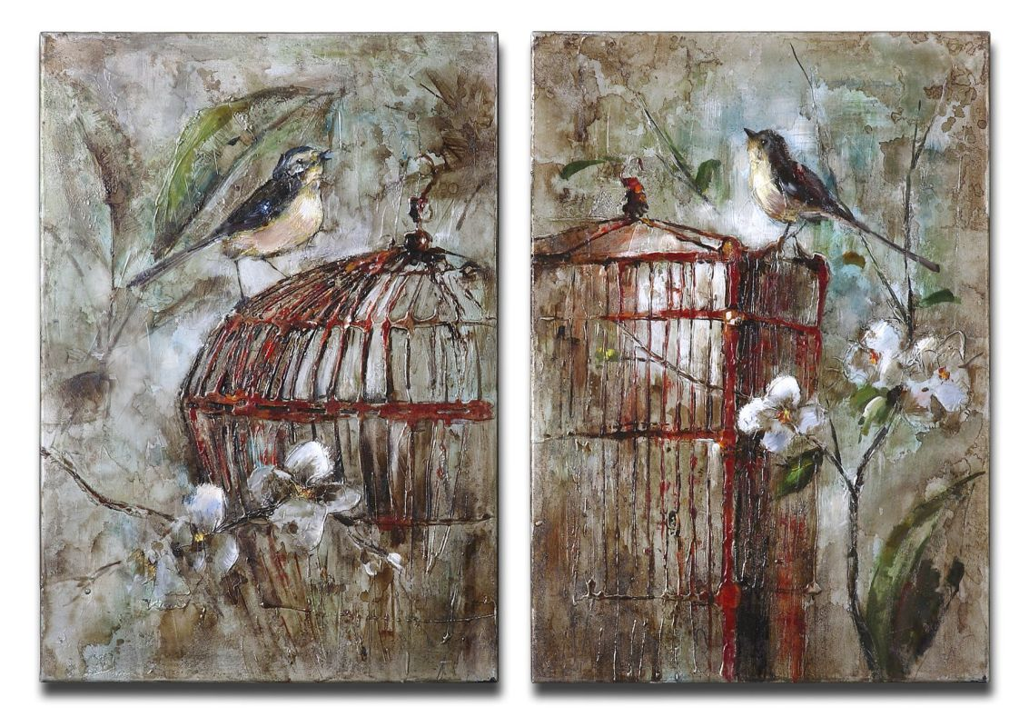 Uttermost 34226 Birds In A Cage I Ii Set of 2 Wall Art Artwork