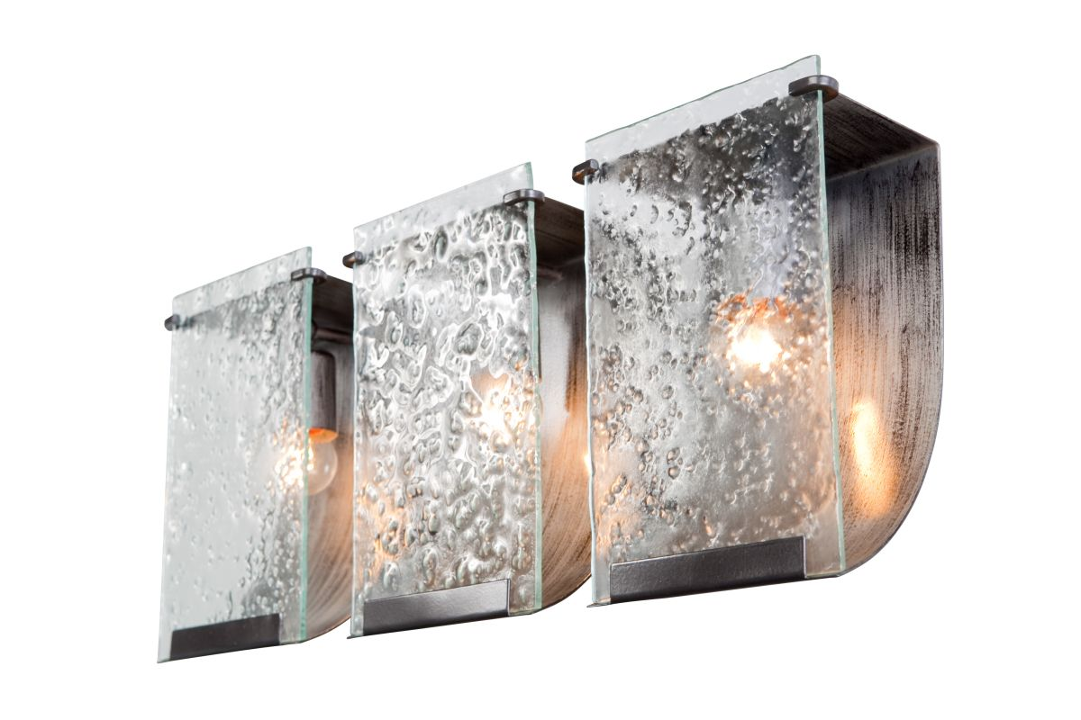 Varaluz 160B03 Rain 3 Light Vanity Rainy Night With Recycled Hand