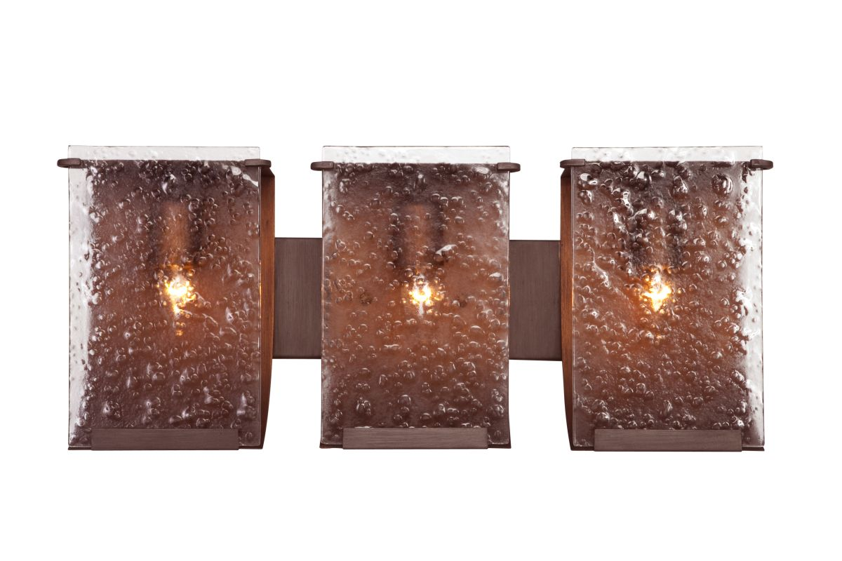 Varaluz 160B03 Rain 3 Light Vanity Hammered Ore With Recycled Hand