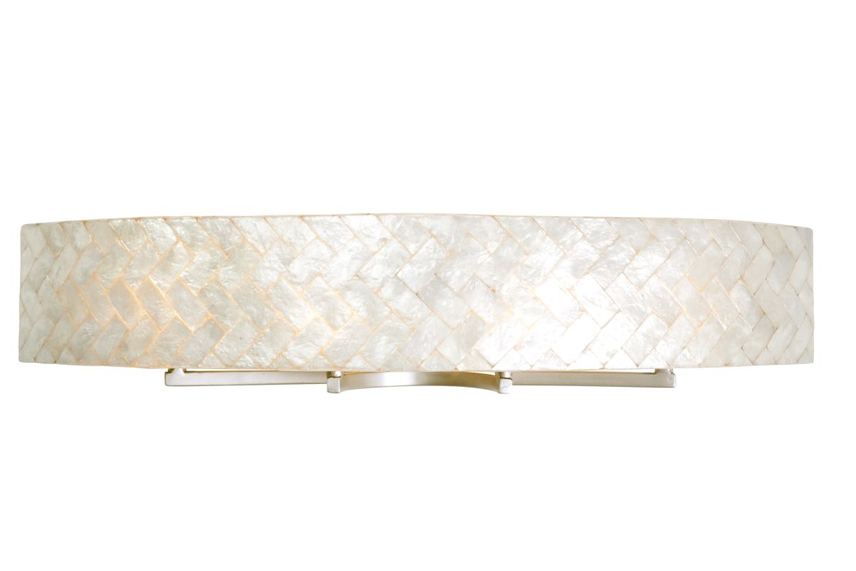 "Varaluz 173B04 4 Light 36"" Wide Sustainable Shell Radius Bath Fixture"