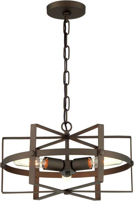 Varaluz 242P03S Reel 3 Light Pendant Rustic Bronze Indoor Lighting