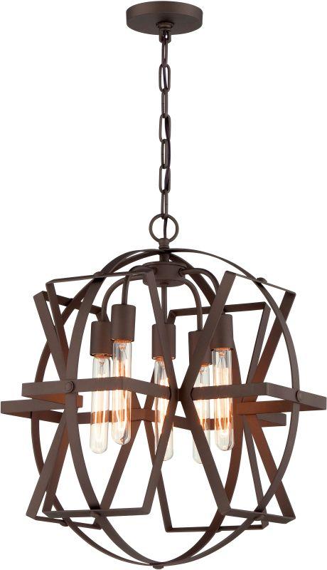 Varaluz 242P05 Reel 5 Light Pendant Rustic Bronze Indoor Lighting