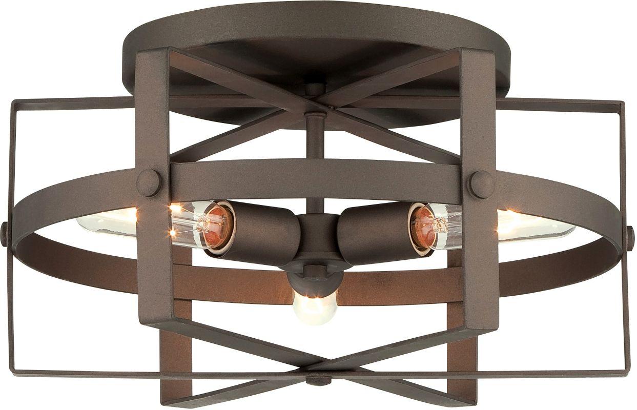 Varaluz 242S03 Reel 3 Light Flush Mount Ceiling Fixture Rustic Bronze
