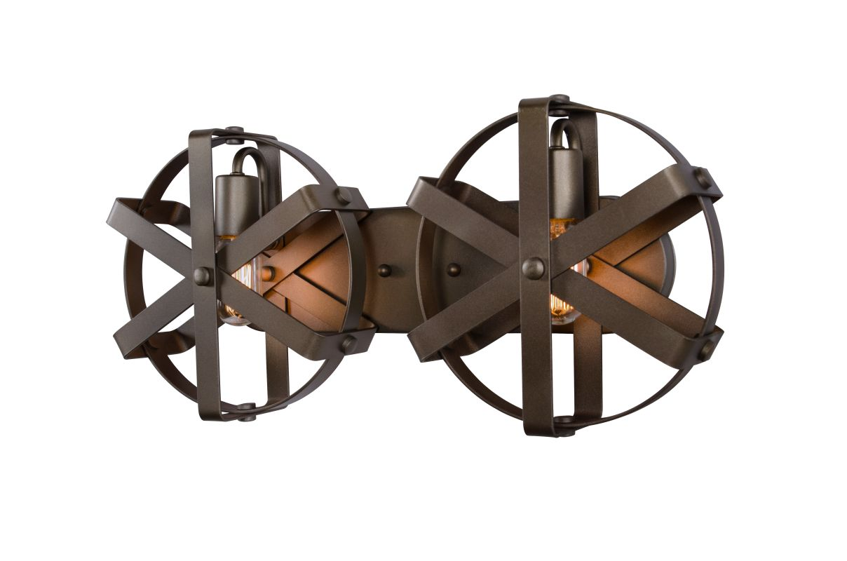 Varaluz 242W02 Reel 2 Light Recycled Steel Wall Sconce Rustic Bronze