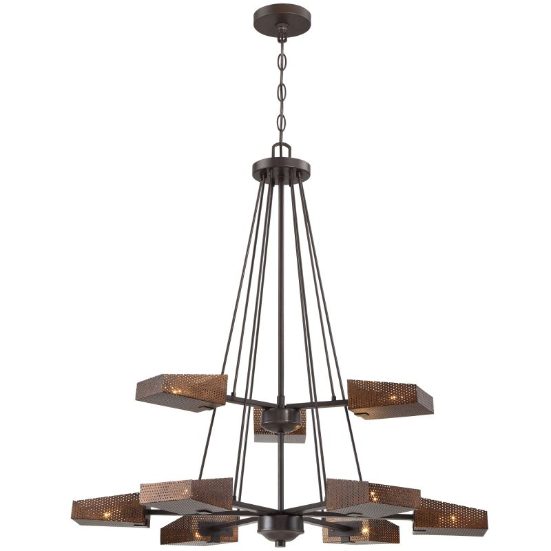 "Varaluz 273C09 Gold Rush 9 Light 32"" Width 2 Tier Hand Forged and Hand"