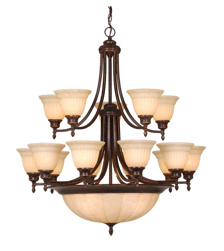 Vaxcel Lighting CH33320 Brussels 15 Light Two Tier Chandelier with
