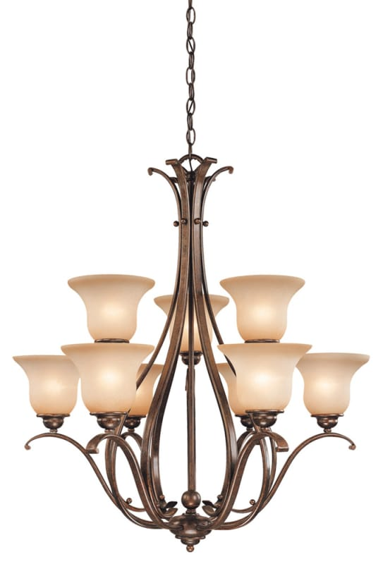 Vaxcel Lighting CH35409 Monrovia 9 Light Two Tier Chandelier with