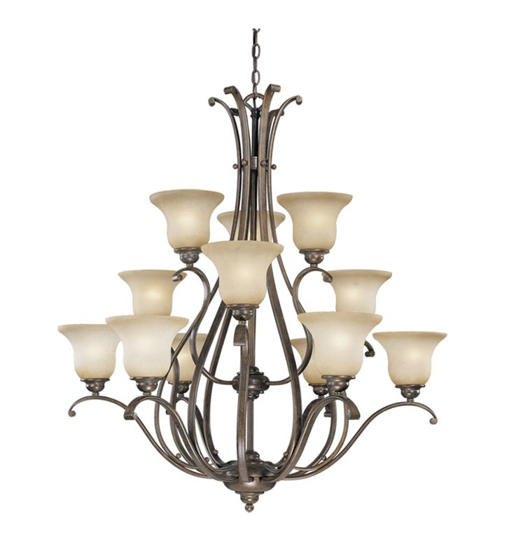 Vaxcel Lighting CH35412 Monrovia 12 Light Three Tier Chandelier with