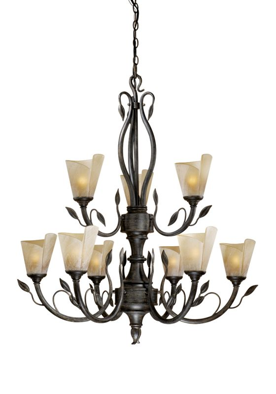 Vaxcel Lighting CP-CHU009 Capri 9 Light Two Tier Chandelier with