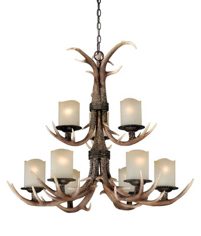Vaxcel Lighting H0014 Yoho 9 Light Two Tier Chandelier with Frosted
