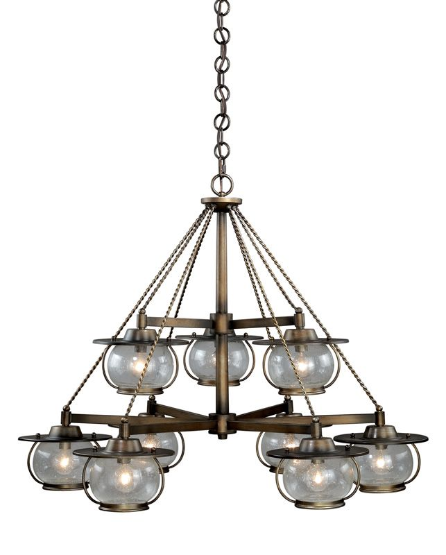 Vaxcel Lighting H0028 Jamestown 9 Light Two Tier Chandelier with Clear