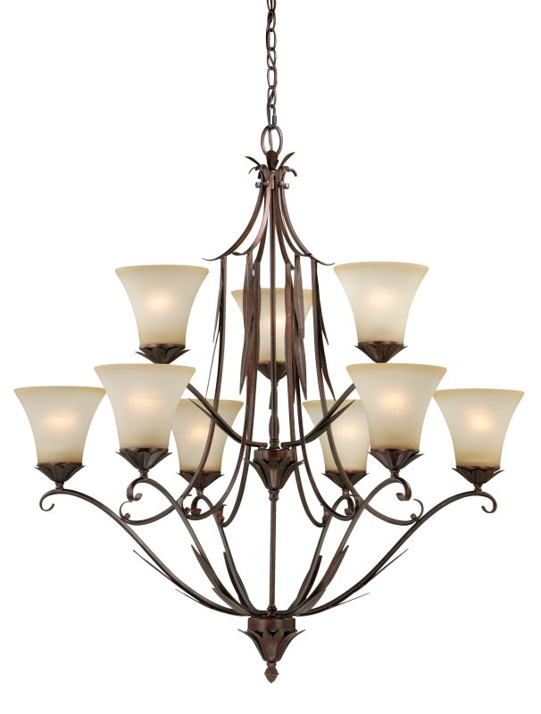 Vaxcel Lighting H0077 Coricelli 9 Light Two Tier Chandelier with Glass