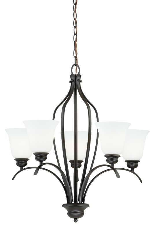 Vaxcel Lighting H0085 Darby 5 Light Single Tier Chandelier with Etched