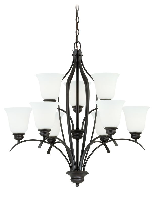 Vaxcel Lighting H0086 Darby 9 Light Two Tier Chandelier with Etched