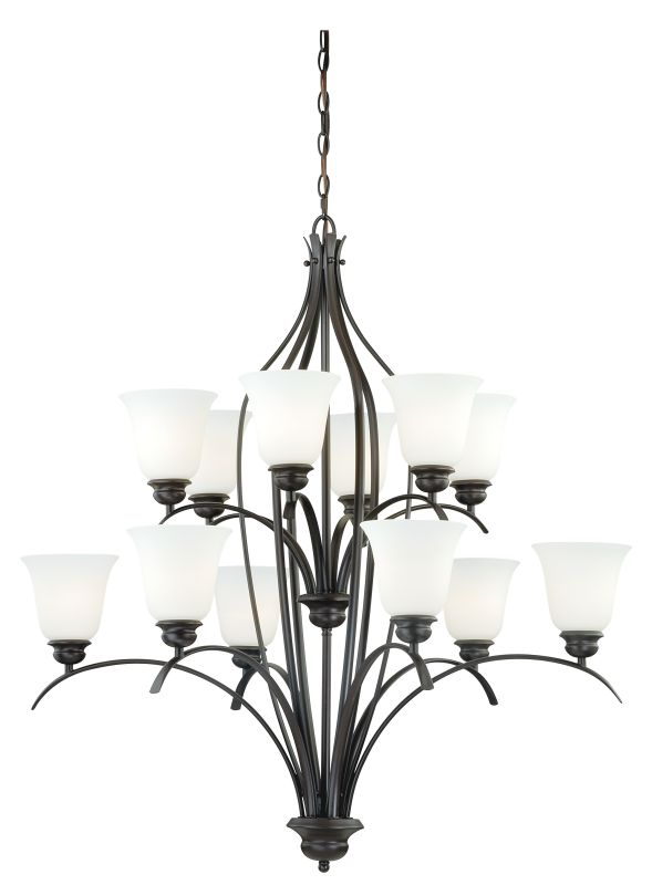 Vaxcel Lighting H0087 Darby 12 Light Two Tier Chandelier with Etched