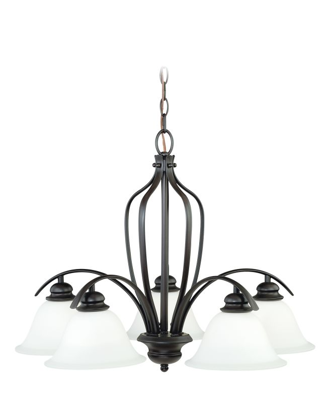 Vaxcel Lighting H0089 Darby 5 Light Single Tier Chandelier with Etched