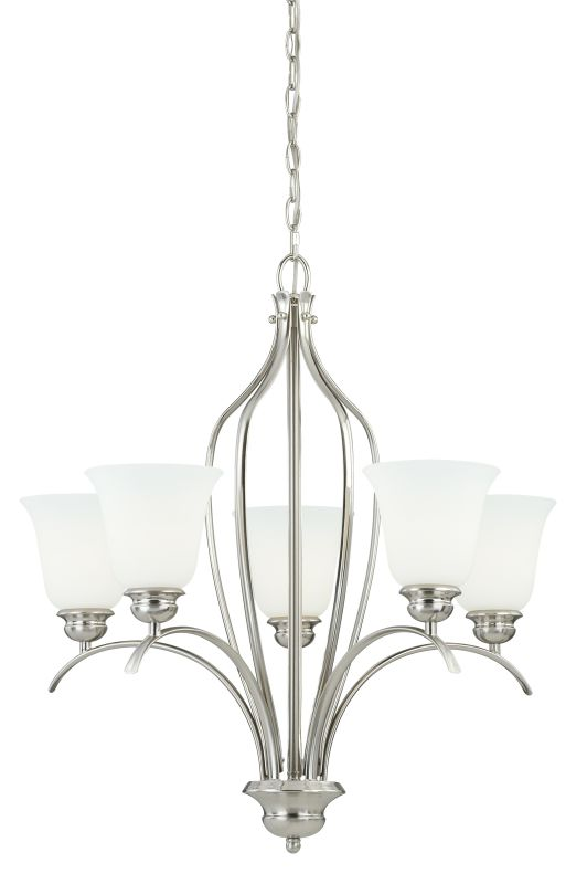 Vaxcel Lighting H0091 Darby 5 Light Single Tier Chandelier with Etched