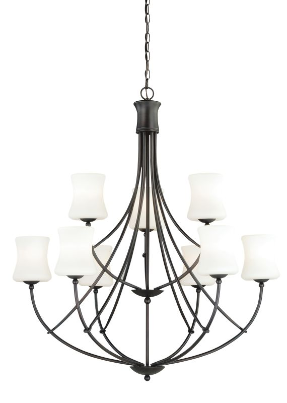 Vaxcel Lighting H0106 Poirot 9 Light Two Tier Chandelier with Frosted