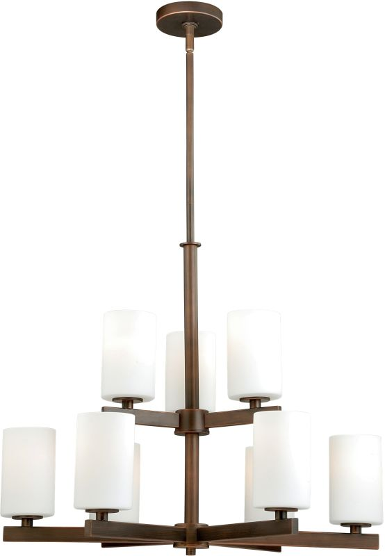 Vaxcel Lighting H0124 Glendale 9 Light Two Tier Chandelier with Glass