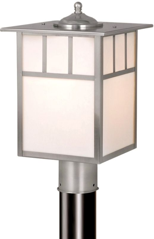 Vaxcel Lighting OP14695 Mission 1 Light Outdoor Post Light Stainless Sale $110.00 ITEM: bci917823 ID#:OP14695ST UPC: 884656641004 :