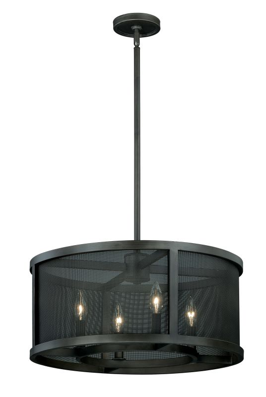 Vaxcel Lighting P0102 Wicker Park 4 Light Drum Pendant Warm Pewter