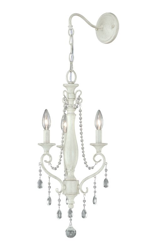 Vaxcel Lighting W0068 Bristol 3 Light Wall Sconce Antique Ivory Indoor